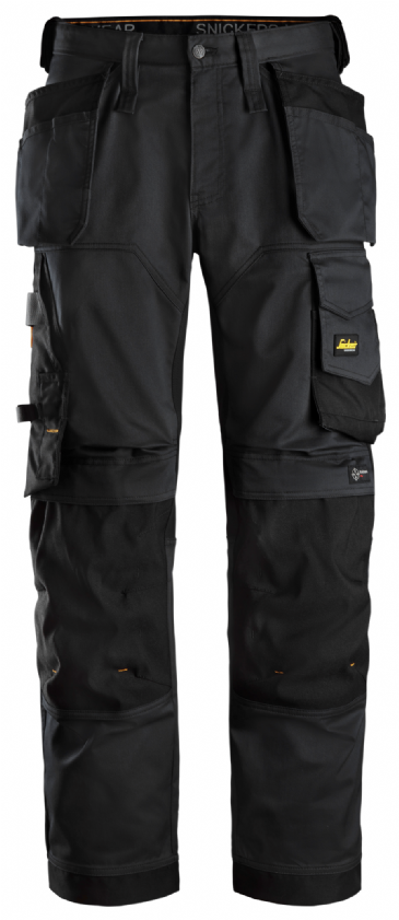 Snickers 6251 AllroundWork Stretch Loose fit Work Trousers Holster Pockets (Black/Black)
